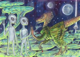 Dinosaurs at Zeta 2 Reticuli by LEXLOTHOR