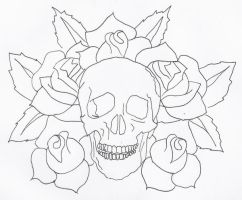 Skull and Roses Tat Sketch by 3FF3CT