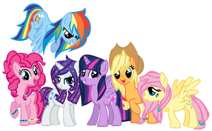 All together now, stylish Mane 6 by Nekochnyan