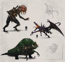 Metroid Bosses: Mother Brain, Ridley, Kraid by rob-powell