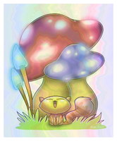lemoncat in magic shroom land by Bizcuit