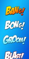 Comics onomatopoeia Photoshop styles by Pickador