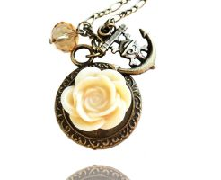 Creamy Resin Flower Bronze Anchor Charm Necklace by crystaland