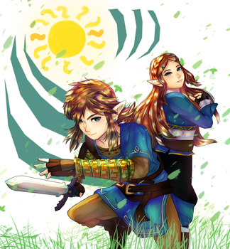 BotW Link and Zelda by R-ShinyStars