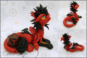 Pavlos the red dice-griffin - polymer clay by CalicoGriffin
