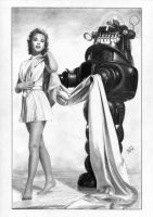 FORBIDDEN PLANET Anne Francis Robby the Robot by TimGrayson