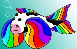Rainbow-Finned Cow Fish by GiantTomatoes