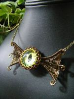 Winged Ice Green And Yellow Eye In Bronze by BacktoEarthCreations