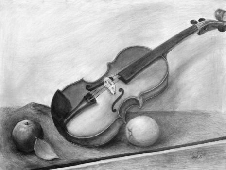 Violin Still Life Drawing by Rrgrg