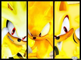 Sonic, Shadow and Silver Super Form Collage by SonicXBoom123