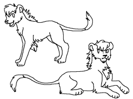 Young lions lineart by TheRealTilsa