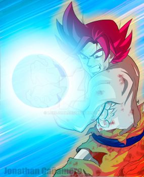 Goku Super Saiyan God by LordJohn