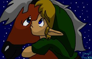 Link riding Epona by BlueLink