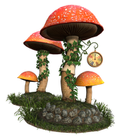 Free Stock PNG:  Fantasy Mushroom Scene by ArtReferenceSource