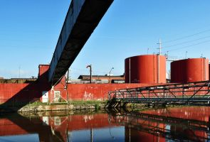 industrial canal, Holyoke, MA by Mjag