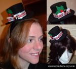 Holiday holly mini top hat by Animus-Panthera
