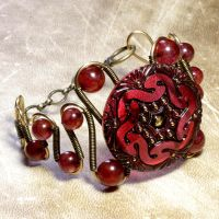 Cranberry Steampunk Bracelet by CatherinetteRings