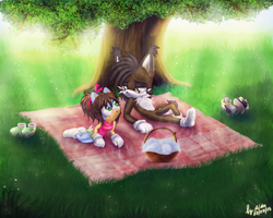 At a picnic by Aido4ka97