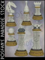 Chess White Set by poserfan-stock