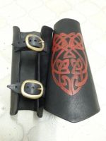 Blood Knot Leather Arm Bracers by nitr0gene
