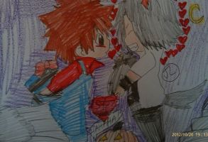 KHR Tsuna and goku happy Halloween by Bluedragoncartoon