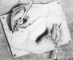 """Drawing Hands"" by Elva-Luthien"