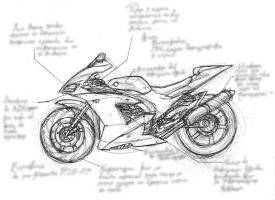 Kawasaki Ninja Drawing by LJRodriguez