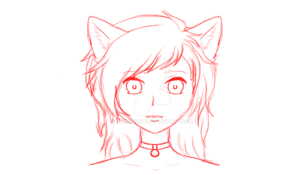 Wolf girl sketch by LearaWolf