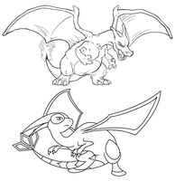 Free Charizard and Flygon linearts