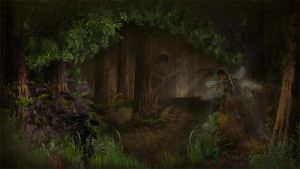 Fairy in the dark swamp wood by BrotherGuy