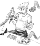 Dirk eating while working by Verzisphere
