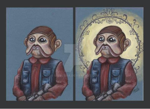 Nien Nunb Before and After by spelleria