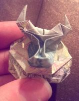 origami bull head on plaque by 1alexmthemurraynator