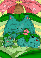 Stained Glass Pokedex: #001-#003 by Joceysheep