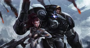 kerrigan N jim raynor by SiaKim