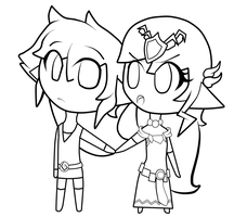 Link and Zelda Lineart by FantasyLinky