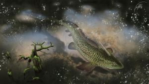Xenacanthus in devonian swamp river by Bonjoer