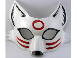 Shiro Kitsune Mask by LucyLovesLeather