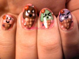 Ice Cream Cone Nails by SoCUTEicleNails