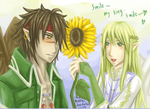 a Heron, sunflower, and a Hawk by Mimoly
