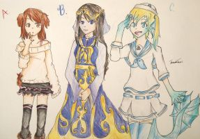 :SOLD: 3 Adoptable girls by OrenjiMican