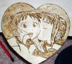 Love Hina Woodburned Heart by akicafe