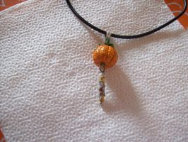 Handmade Pumpkin Miniature Charm-LOWERED PRICE by Amabyllis