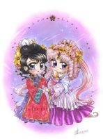 C: Chibis Maid Hoshi and Princess Halo by Toto-the-cat