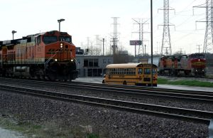 Two BNSF's and a School Bus by JamesT4