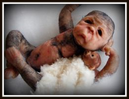 Nikko, ooak newborn monkey by zoux-art