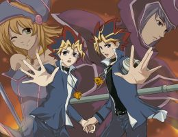 Yugi, Yami, and Dark Magicians by saibanran