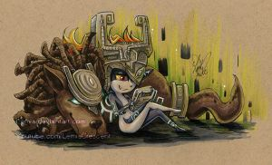 Copic Marker Twilight Princess Midna And Wolf by LemiaCrescent