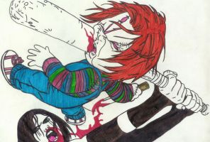 Chucky Vs Hack And Slash by Perry666