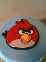 Angry Birds Cake -close up by Spudnuts